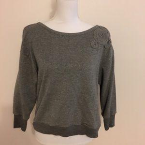 Plastic Island Metallic Silver Sweatshirt Blouse S